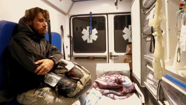 Morten im Krankenwagen