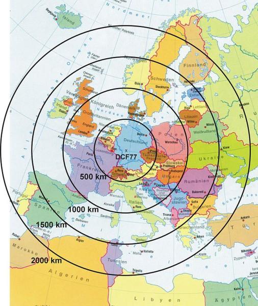 Der Funksender DCF77 und seiner Reichweite in Europa. Graphik: PTB - Physikalisch-Technischen Bundesanstalt