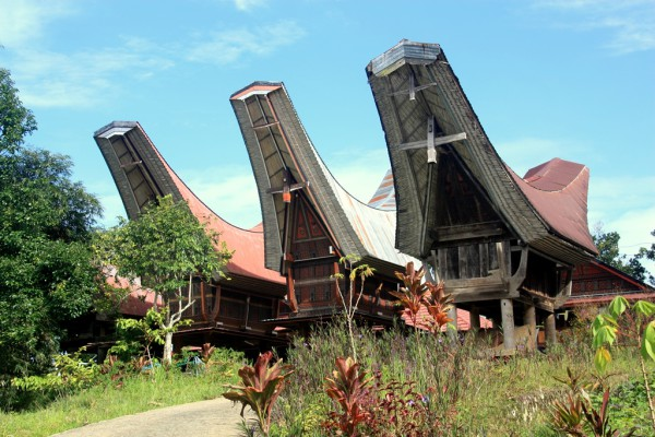 Die Häuser in Tana Toraja fallen durch ihre seltsam geschwungenen Dächer auf. Die abgebildeten Gebäude dienen als Speicher.