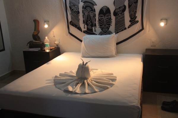 Einfach, aber schön: Das Hotel Casa Tucan empfängt Gäste mit wunderbar zusammengefalteten Handtüchern.