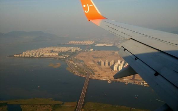 Landeanflug auf Busan: Korea lässt sich günstig mit den Nachbarländern verbinden.