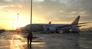 Ankunft mit der Boeing 787 in Addis Abeba.