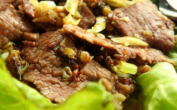 Rindfleisch mit roten Ameisen: Überraschend lecker.
