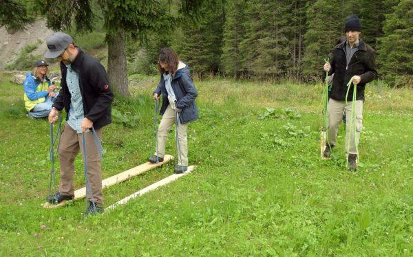 Wettkampf im Team-Langlauf mit den Angelones - sie waren wirklich nur ganz kurz in Führung... :)